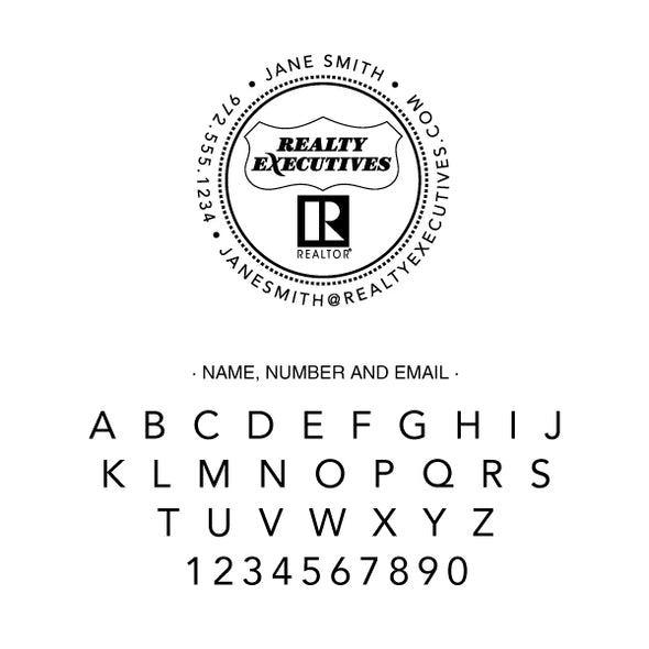 Realty Executive Branded Round Name and Contact Info Custom Designer Stamp