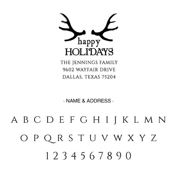 Custom Antler Happy Holidays Address Stamp