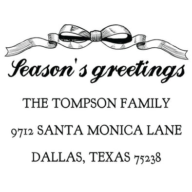Custom Season's Greetings Bow Address Stamp
