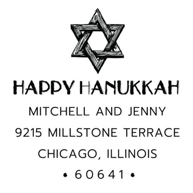 Custom Happy Hanukkah Address Stamp