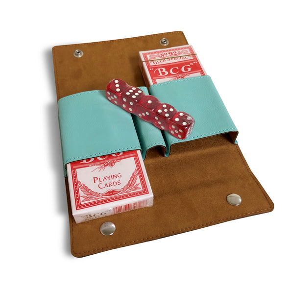 custom engraved teal vegan leather card and dice set with design monogram and name for closing gifts open view