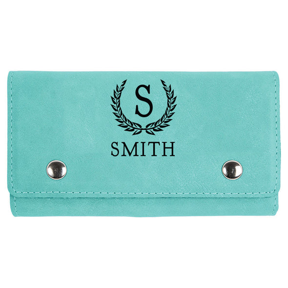 custom engraved teal vegan leather card and dice set with design monogram and name for closing gifts