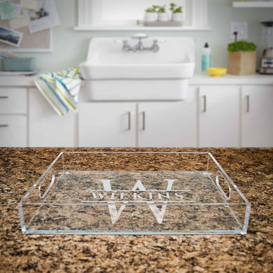 Custom engraved serving tray acrylic with initial and last name, closing gift for realtors