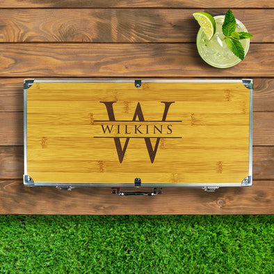 Custom Engraved 13 Piece Grill Set with Wooden Case Initial and Name Closing Gift