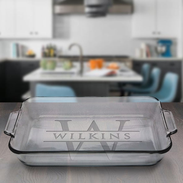 Custom Engraved Rectangle Glass Baking Dish New Home Closing Gift