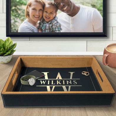 Custom Engraved Vegan Leather Serving Tray Last Name Initials Housewarming Wedding New Home Gifts Best Sellers