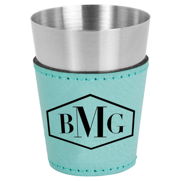 20 oz stainless steel leather wrapped custom engraved shot glass with three letter monogram for closing gifts
