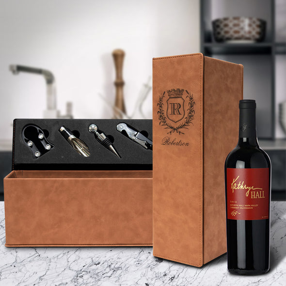 Faux Leather engraved wine box set with wreathe crest initial last name