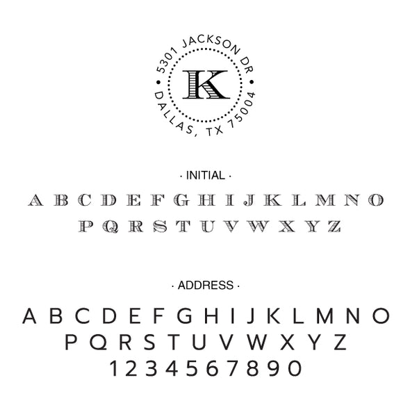 Round One Initial Monogram Address Custom Designer Embosser