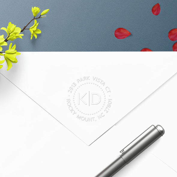 Round Two Initial Monogram Address Custom Designer Embosser