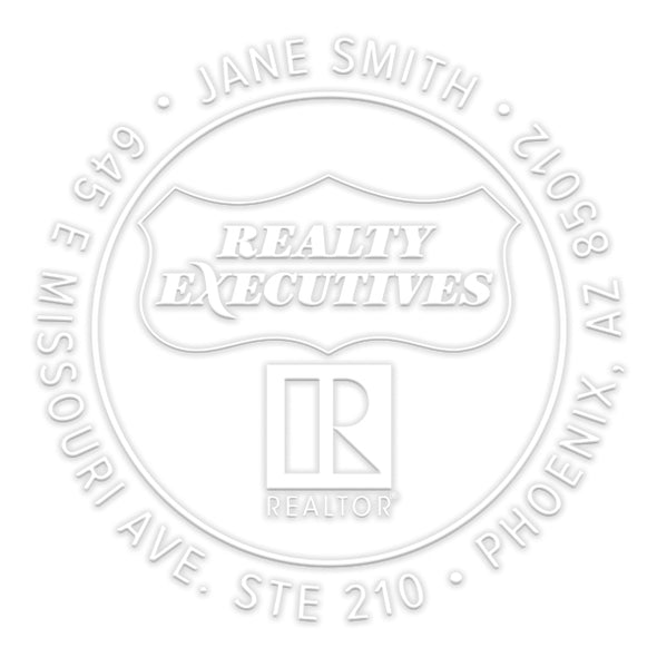 Realty Executives Branded Round Name and Address Custom Designer Embosser
