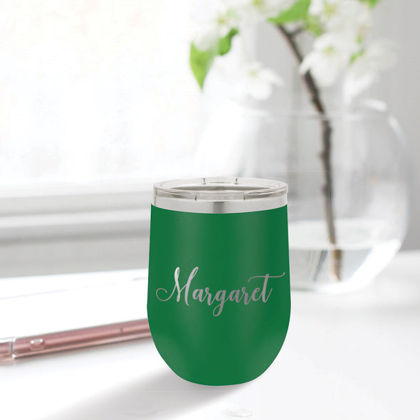 custom engraved 12 oz. tumbler best sellers custom gift green with clear lid closing gift