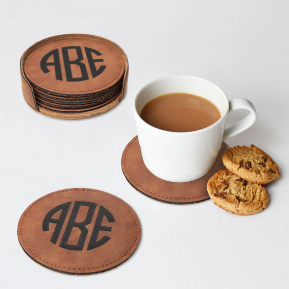Faux Leather engraved round coaster set with three letter monogram