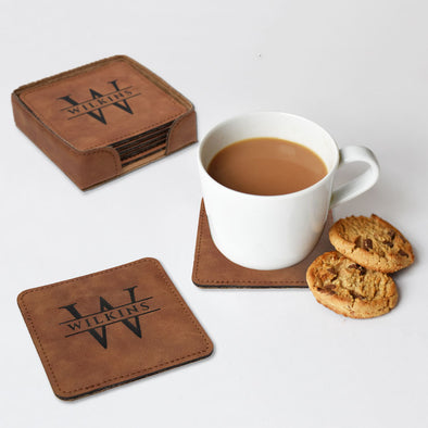 Faux Leather engraved square coaster set with initial and last name