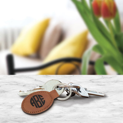 Custom Engraved Leather Monogram Key Fob Closing Gift