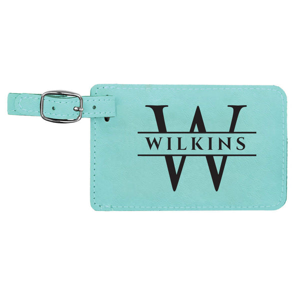 Set of 2 vegan leather luggage tags engraved with our exquisite classic design perfect closing gift