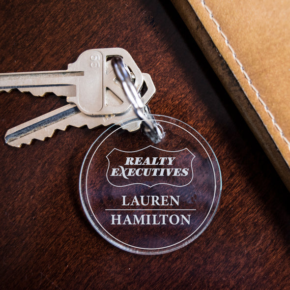 Realty Executive logo custom engraved acrylic key fob
