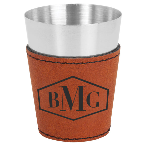 Engraved Leather & Stainless Steel Shot Glass