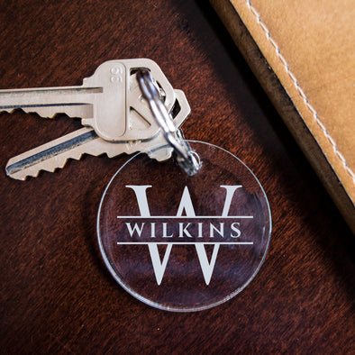 Custom engraved key fob acrylic with initial and last name, closing gift for realtors
