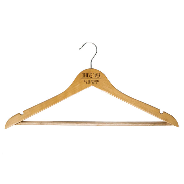Custom engraved wooden hangers for couple initials, last name and est date