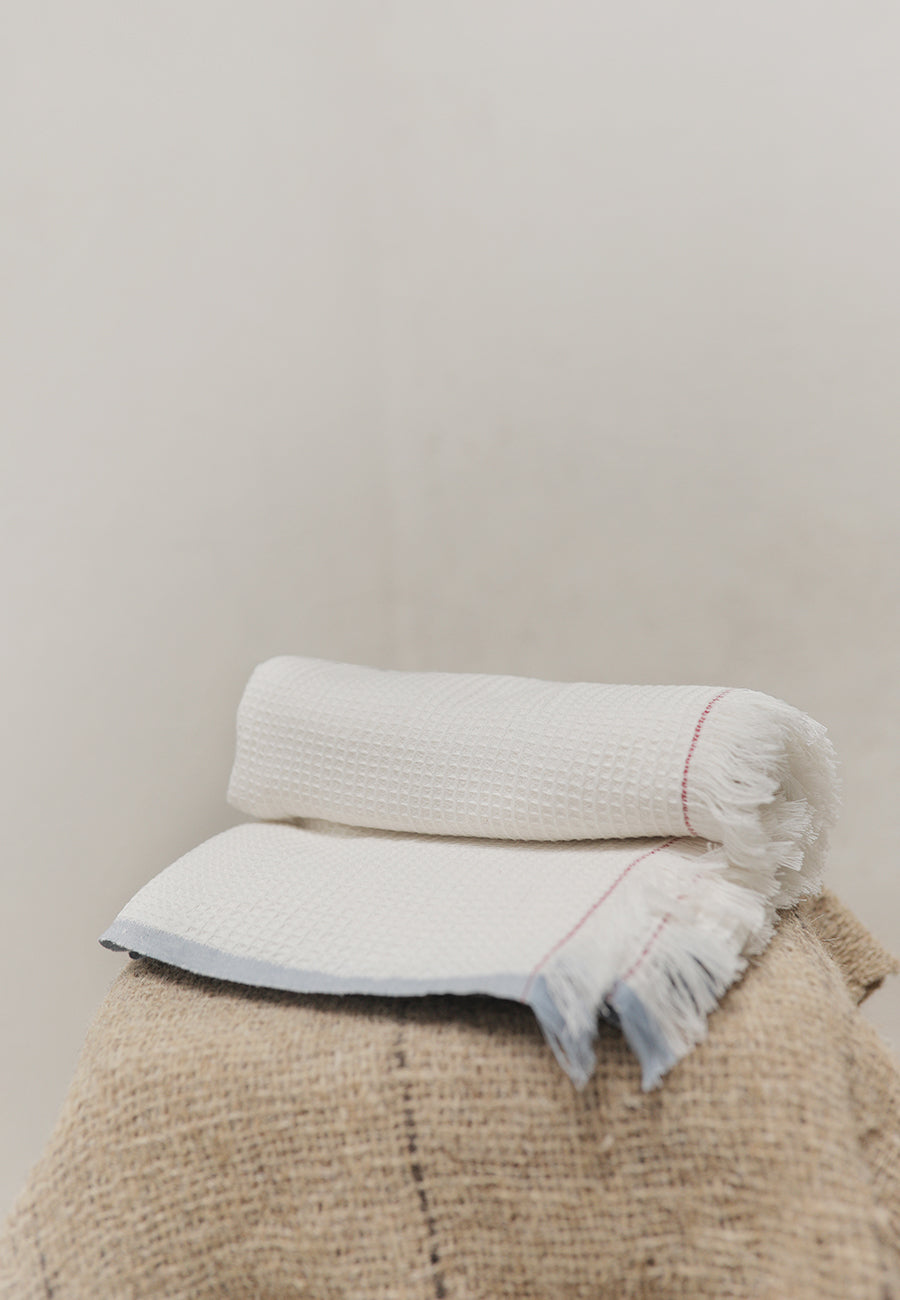 Handwoven Waffle towel - White