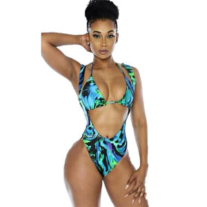 6f8c915c8 Sexy African Print Push Up Backless High Waist Bandage Bathing Suits