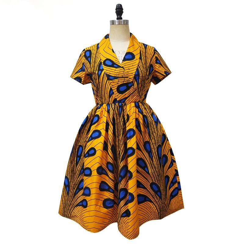 49a13bd5c5f9 ... 2017 African print short sleeve dress v-neck knee length summer dress  ...