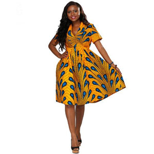 ede73279bafe 2017 African print short sleeve dress v-neck knee length summer dress