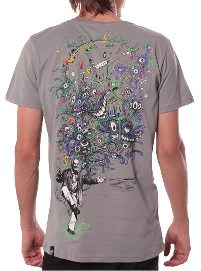 grey t shirt festival print men