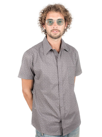 Casual Allover Print Shirt in Grey