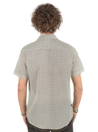 Casual Allover Print Shirt in Color Sand