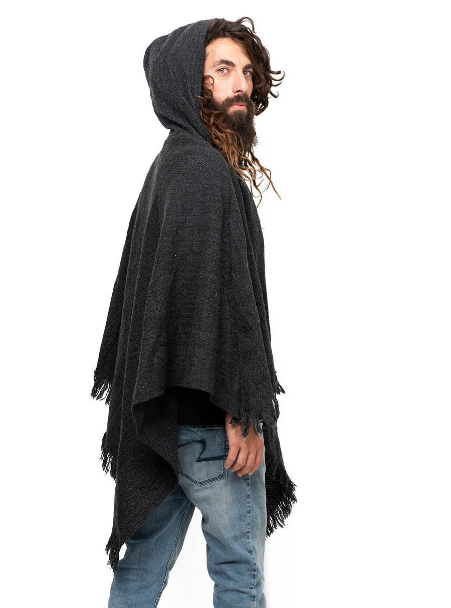 Dark Grey Unisex Wool Poncho with Hood and Pocket