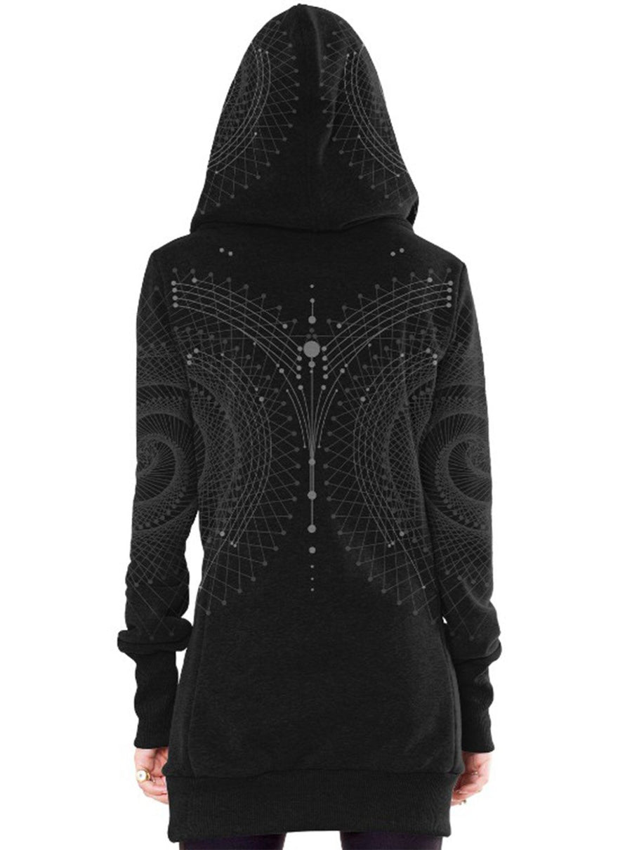Venus Long Hoodie Allover Geometric Print