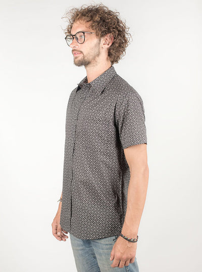 Casual Allover Print Shirt in Black