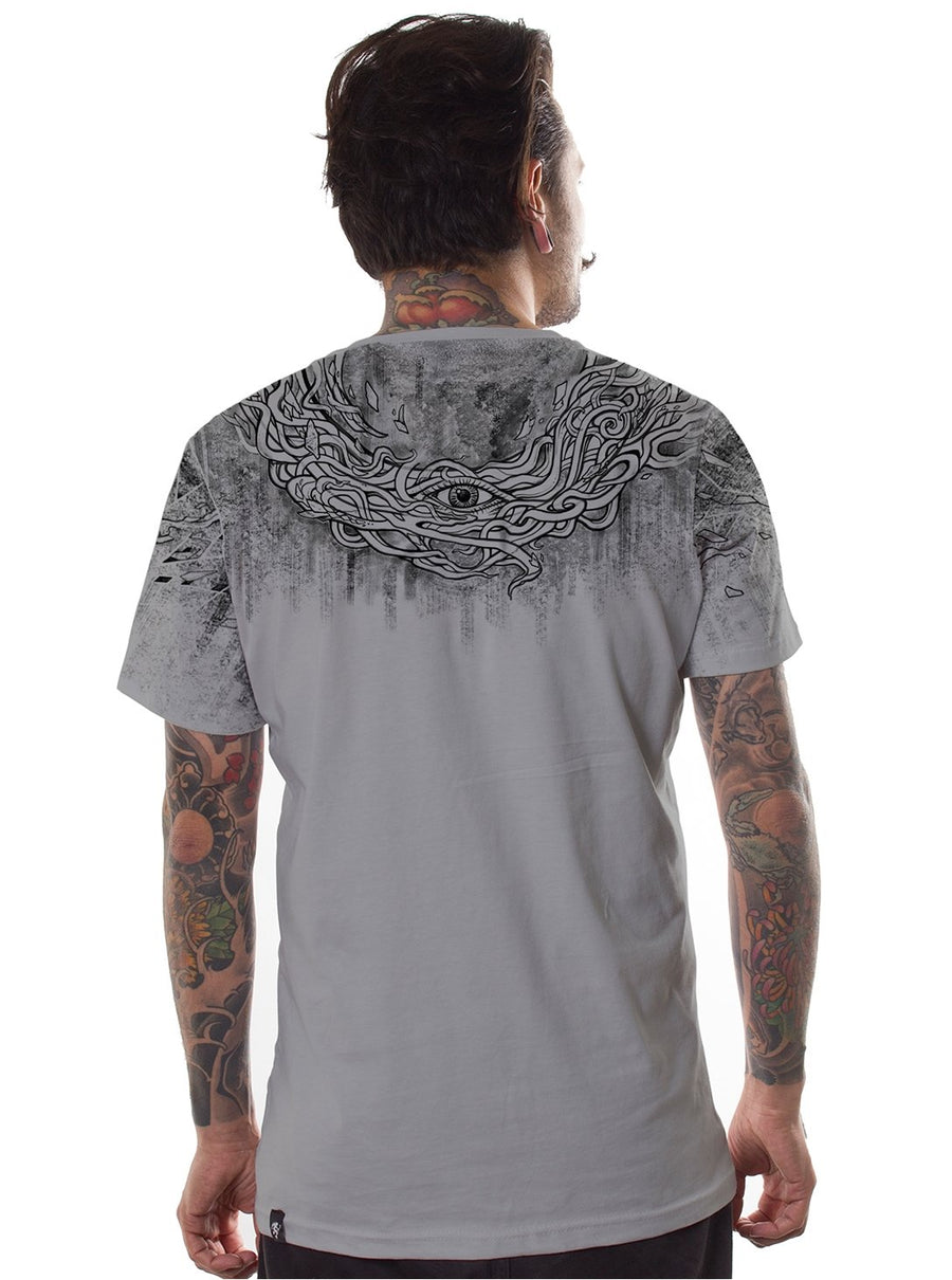 grey music festival print t-shirt men