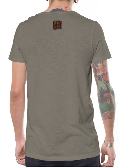 grey t-shirt men psychedelic design