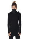 Light Weight Hooded Dress Fitted Black Pullover