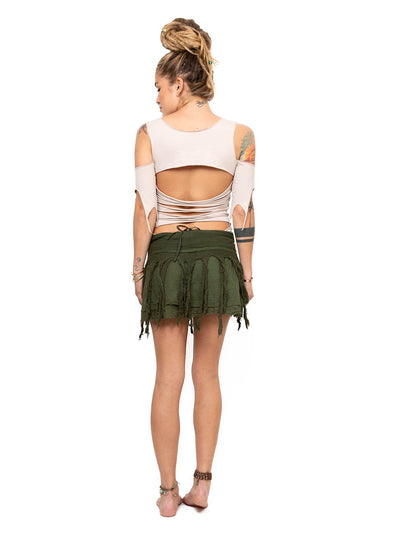 Stretch Pixie Top with Stripe Hollow Back