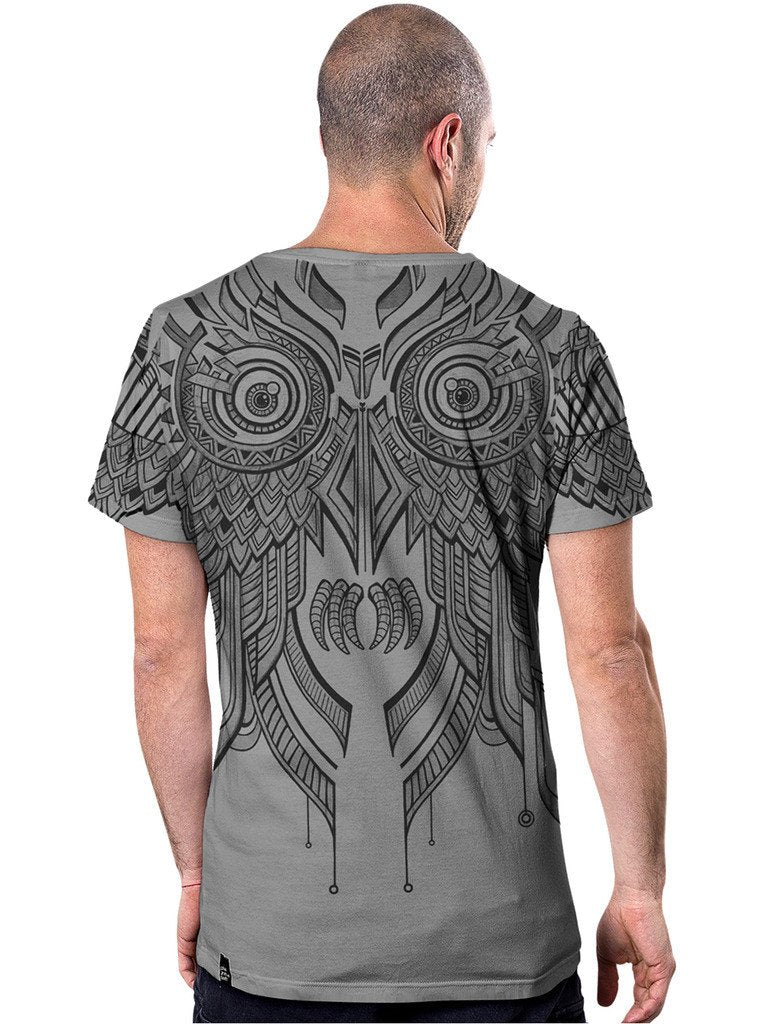 Street Art Owl Printed T-Shirt