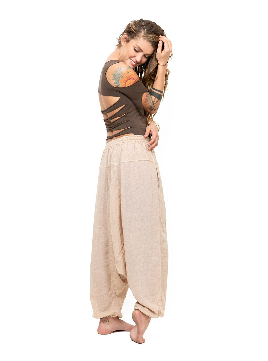 Harem Pants Beige Natural Raw Cotton One Size