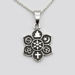 10pcs COEXIST Tibetan Silver Lotus Pendant OM Religious Belief Necklace For Women Men Fashion Jewelry SGL221