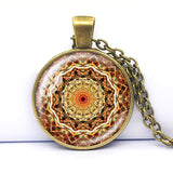 Mandala Religious India Yoga Jewelry Spiritual Amulet Sacred geometry Chain Necklace Mandala Necklace Glass Cabochon Pendant