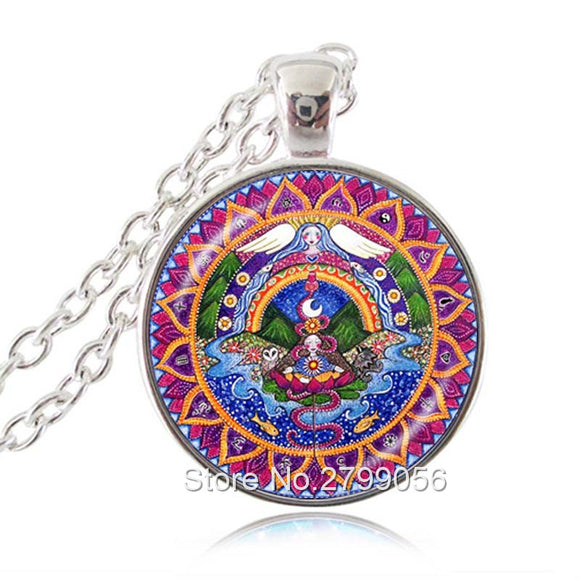 7th Chakra Necklace Mandala Card Pendant Crown Sahasrara Jewelry Energy Healing Meditation Yoga Necklace Angel Spiritual Choker