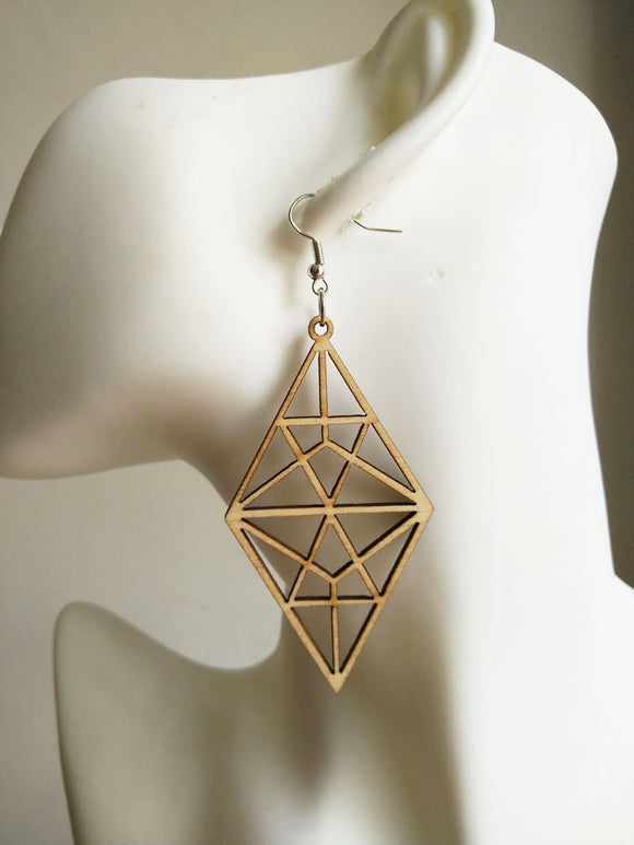 Natural color Laser cut  Hollow  geometric Wood earrings