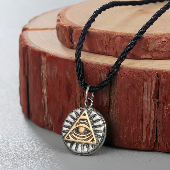 CHENGXUN Mayan Pyramid All Seeing Eye Mayan Icon Pagan Wicca Pendant Necklace Spiritual Amulet Necklace Talisman