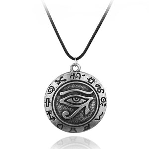 Cool Egypt Eye Of Horus Charm Pendant Alloy Necklace Gray Rope Jewelry Spiritual Jewelry High Quality Gift For Women Men Fans