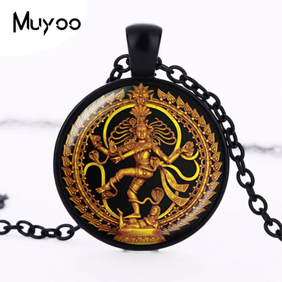 Golden Buddha Necklace Dance of Destruction Lord Shiva Pendant Glass Buddhist Jewelry Hindu Deity Spiritual Amulet Necklace HZ1