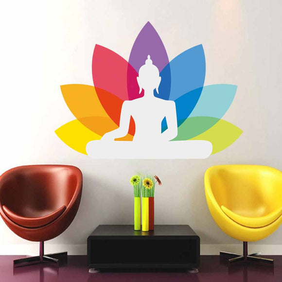 Colorful Sitting Buddha Design Mural Wall Art Vinyl Stickers Spiritual Yoga Decal Living Room Bedroom Self Adhesive Wallpaper