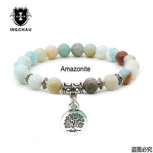 Antique Silver Plated Buddhism Tree of Life Bracelets Men Aventurine Amazonite Bracelet Buddha Spiritual Jewelry For Women BD-9