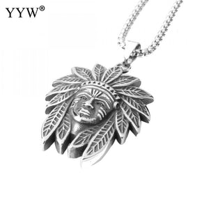 1pcs Stainless Steel Retro Tibet Spiritual Necklace Tibet Mandala Pendant Necklace Face Shape Amulet Religious Jewelry Men Women